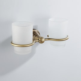Antique Brass Wall-mounted Double Tumbler Holder