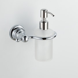 Classic Chrome Finish Contemporary Style Wall Mounted Brass Liquid Soap Dispenser Holder Rack