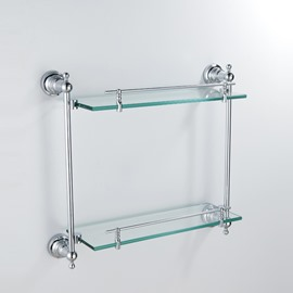 Contemporary Style Chrome Finish Brass Wall Mounted Glass Shelf
