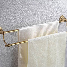 Contemporary Ti-PVD Finish Bathroom Accessories Brass Doudle Towel Rod