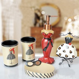 European Style Five Pieces Resin Bathroom Accessories