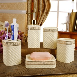 Fancy Ceramic Plaid Pattern 5-piece Bathroom Accessories