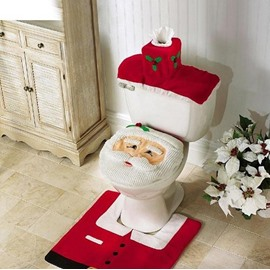 60 Santa Claus Pattern 3 Piece Toilet Seat Cover And Rug Sets