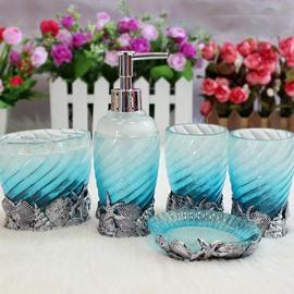 Mediterranean Style Starfish Shell 5-Pieces Blue Bath Accessories