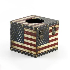 Splendid Amercian Flag Print Square Tissue Box