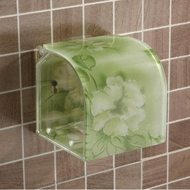 Graceful Flower Print Green Toilet Paper Holder