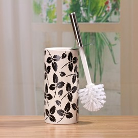 The Vase Type Suit Black And White Decorative Pattern Ceramic  Toilet Brush Holder