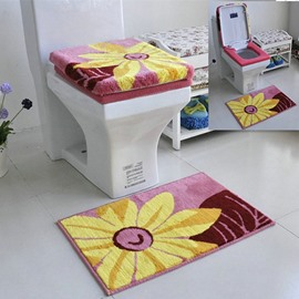 Contemporary Sunflower Squarish Toilet Seat Cover and Rug Set