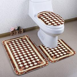 Luxury Geometric Printing Caroset 3D 3-Piece Toilet Seat Cover