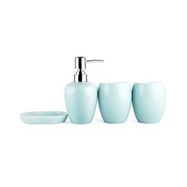Light Colored Glaze Ceramics 4-Pieces Bathroom Accessories