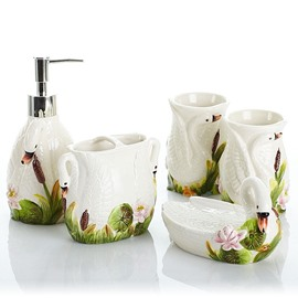 55 lovely white swan design ceramics 5 pieces bathroom accessories