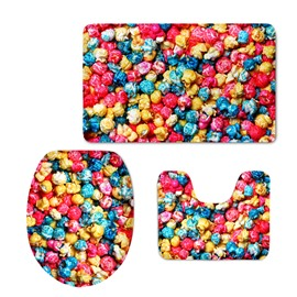 Colorful Popcorn 3D Printed 3-Pieces Toilet Seat Cover