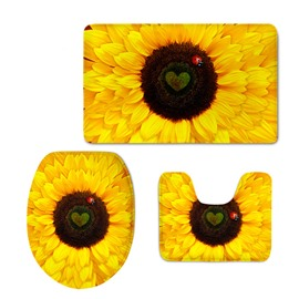 Ladybird on the Sunflower Printed 3-Pieces 3D Toilet Seat Cover Sets