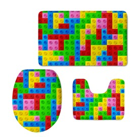 Cute Building Block Printed 3-Pieces 3D Toilet Seat Cover Sets