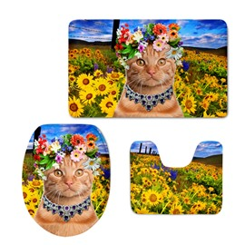 Princess Cat in the Sunflower Field 3D Printing 3-Pieces Toilet Seat Cover
