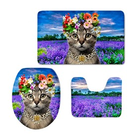 Lady Cat in the Lavender Field 3D Printing 3-Pieces Toilet Seat Cover