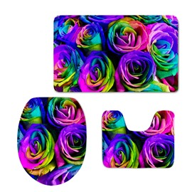 Colored Roses Printing 3D 3-Pieces Toilet Seat Cover