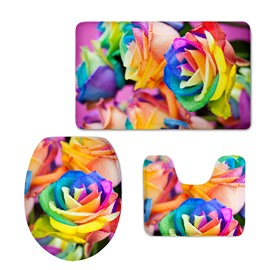 Delicate Colorful Roses 3D Printing 3-Pieces Toilet Seat Cover