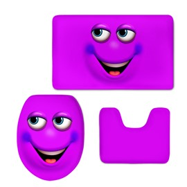 Purple Smiling Face 3D Printing 3-Pieces Toilet Seat Cover