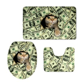 Adorable Cat in the Dollar Printing 3-Pieces Toilet Seat Cover