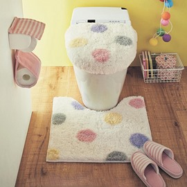 Polka Dot Printed 3-Pieces Cotton Toilet Seat Cover Sets