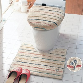 Colored Stripes Printed Cotton Toilet Seat Cover Sets