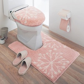 Cute Snow Pattern 100% Cotton 3-Pieces Pinki Toilet Seat Cover Sets