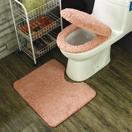 Cute Pink 3-Pieces Plush Toilet Seat Cover Sets