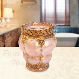 Resin Royal Style Pink and Golden Toothbrush Holder