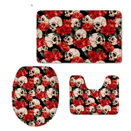 Red Flowers and Skulls Pattern Flannel PVC Soft Water-Absorption Anti-slid Toilet Seat Covers
