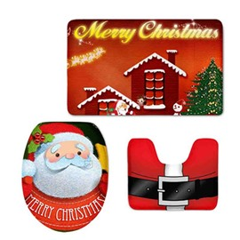 Christmas Father Pattern Flannel PVC Soft Water-Absorption and Anti-slid Toilet Seat Covers