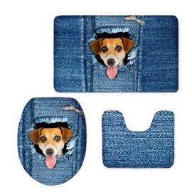 Blue Background with Dog Printed Flannel PVC Water Absorption Anti-slid Toilet Seat Covers