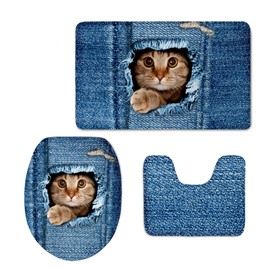 Blue Background with Cat Printed Flannel PVC Water Absorption Anti-slid Toilet Seat Covers
