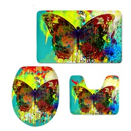 Butterfly Pattern Oil Painting Flannel PVC Soft and Anti-slid Toilet Seat Covers