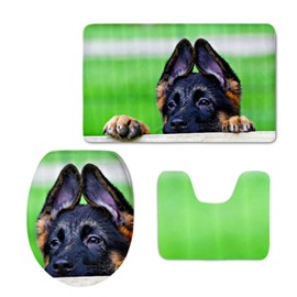 Green Background with Dog Printed Flannel PVC Soft Water-Absorption Anti-slid Toilet Seat Covers