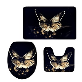 Black Background with Butterflies Printed Pattern Flannel PVC Soft Anti-slid Toilet Seat Covers