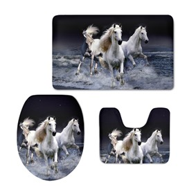 White Horses Running in Sea Flannel PVC Soft Water-Absorption Anti-slid Toilet Seat Covers