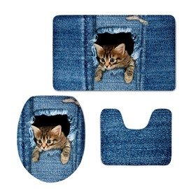 3D Kitten Head Pattern Flannel PVC Soft Water-Absorption and Anti-slid Toilet Seat Covers