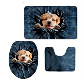 3D Dog Head Pattern Flannel PVC Soft Water-Absorption and Anti-slid Toilet Seat Covers
