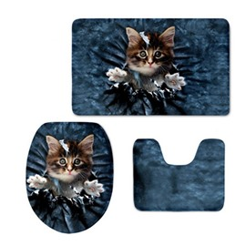 3D Brown Kitten Pattern Flannel PVC Soft Water-Absorption and Anti-slid Toilet Seat Covers