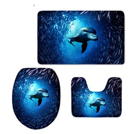 Dolphin Swimming in Sea Pattern Flannel PVC Soft Water-Absorption Anti-slid Toilet Seat Covers