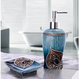 Lotion Bottle and Soapbox 2-Piece Resin Durable Bathroom Ensemble