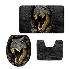 Dinosaur Pattern 3-Piece Flannel PVC Soft Water-Absorption Anti-slid Toilet Seat Covers