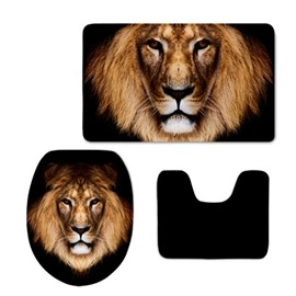 Lion Head Pattern 3-Piece Flannel PVC Soft Water-Absorption Anti-slid Toilet Seat Covers