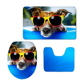 Dog with Sunglasses Printed Flannel PVC Soft Water-Absorption and Anti-slid Toilet Seat Covers