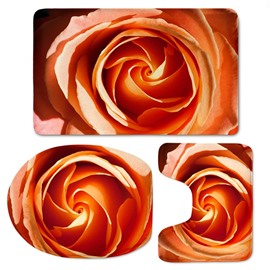 Orange Flower Pattern 3-Piece Flannel PVC Soft Water-Absorption Anti-slid Toilet Seat Covers