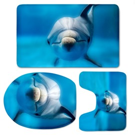Dolphin in Blue Sea Pattern 3-Piece Flannel PVC Soft Water-Absorption Toilet Seat Covers