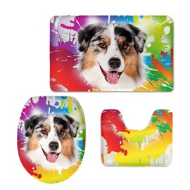 Dog Pattern 3-Piece Flannel PVC Soft Water-Absorption Anti-slid Colored Toilet Seat Covers