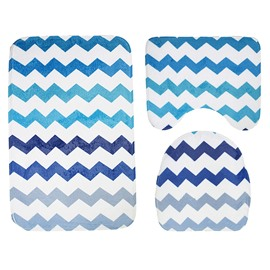 Navy Blue Water Wave Stripe 3-Piece Toilet Seat Cover