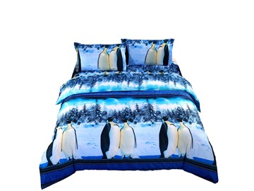 Lovely Antarctic Penguin 3D Printed 4-Piece Polyester Duvet Cover Sets